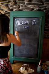 Welcome (ScottJphoto) Tags: girl rock mystery writing chalk raleigh brunette chalkboard thepourhouse