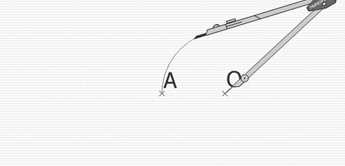 """En appuyant simultanément sur la barre d'espacement et la flèche """"vers le haut"""", je trace un cercle qui passe par le point A."""