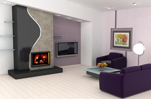 Clear-elegant-Modern-Living-room-with-deep-purple-sofas-and-a-fireplace