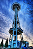 """Dreamy Space Clouds (Surrealize) Tags: seattle winter sunset tree monument clouds washington nikon branches spaceneedle hdr seattlecenter whispy d700 """"bluesky"""" """"spaceneedle"""" """"seattlecenter"""" surrealize"""