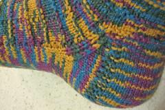 Ridged sock: heel detail