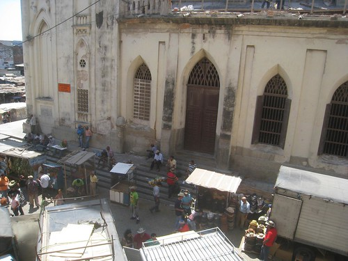 View of the adjacent church and marketplace from Hotel Olimpico