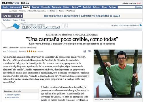 Entrevista Juan Freire en El País - Galicia