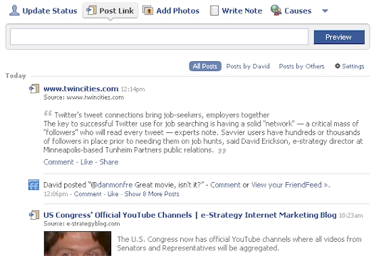 Facebook-Friendly Content Post Link Example - 03/01/09
