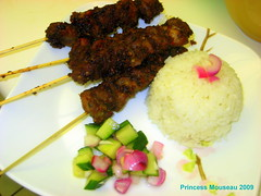 Pork Satays - with rice and pickles