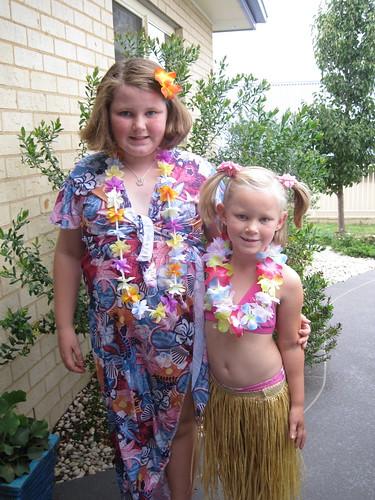Girls ready for Hawiian themed school disco