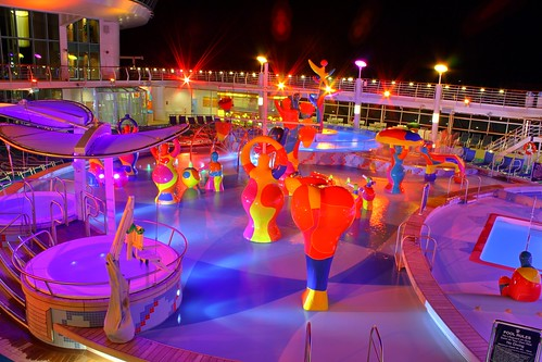 Independence of the Seas H20 Zone at Night
