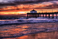 Manhattan Beach Pier Sunset (szeke) Tags: ocean california sunset water clouds landscape pier losangeles pacific wave manhattanbeach hdr photomatix flickrsbest anawesomeshot colorphotoaward qualitypixels