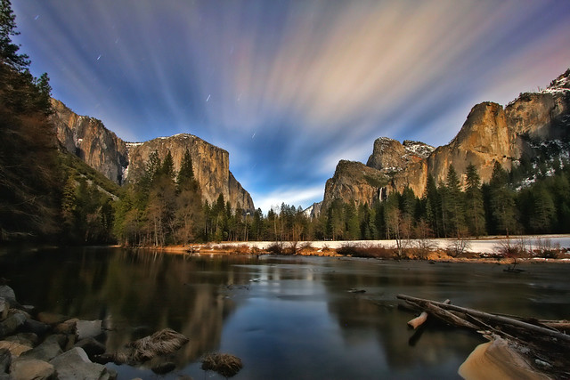 Bridalveil Meadow under a Full Moon