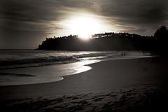 Habaraduwa Beach (Priz_a) Tags: trees sunset sea sky people blackandwhite woman holiday man tree beach skyline canon landscape 5d srilanka 2009 pri priz priza