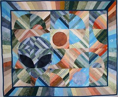 Take Me To Your Leader (Quilting Up A Creek by Carolyn Hughey) Tags: quilt alien handdyedfabric circlequilt
