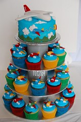 Aeroplane Cupcake Tower (TheLittleCupcakery) Tags: birthday blue red green yellow cake clouds plane cupcakes little 1st aeroplanes tlc cupcakery xirj klairescupcakes