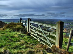 Gateway HDR (Osgoldcross Photography) Tags: sky grass clouds landscape wooden gate village valley moors moor hdr westyorkshire moorland holme holmevalley 3xp photomatix fivebar 5bar handheldhdr jacksonbridge