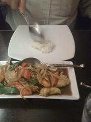 his dinner