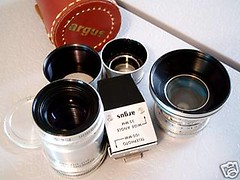 Argus C3 Wide & Tele Lens Set + Finder (goblinbox_(queen_of_ad_hoc_bento)) Tags: 35mm lens wideangle 100mm telephoto finder argus sandmar