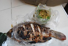 Grilled Fish and Nam Prik Pla Tu THB55 + THB15 -  Night Market, Kad Suan Kaew