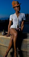 APG - Malika (BlazinBajan) Tags: bridge atlanta woman white girl hat night pose dark model pretty feather purse esp mbp apg malika elliottstreet elliottstreetpub majorbphotography apg042109