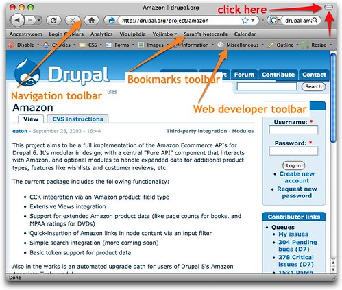 Firefox - hide toolbars