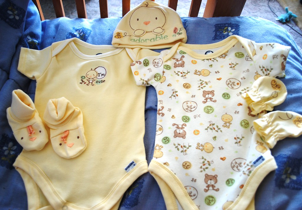 Organic Cotton Onesies, Hat, Mitts, and Booties