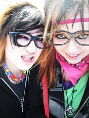 I Love These Kids. (bunni[gasm]) Tags: life girls friends black hot silly cute love colors girl smile kids hair fun outside happy glasses kid cool funny colorful pretty random sweet awesome makeup scene odd rawr laugh rave rainbows epic twisted childish twogirls spontanious