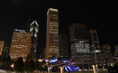 Let's go Hawks! (Maricel Cruz) Tags: park city chicago skyline night lights evening illinois nikon long exposure downtown image millenium prudential aon pavillion pritzker bcbs d700 maricelcruz