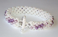 Gradual Lavender Beaded Bracelet (fivefootfury) Tags: wedding purple stripe lavender jewelry lilac bracelet beaded beadwork gradual beadweaving shadesofpurple whiteandpurple ebwteam