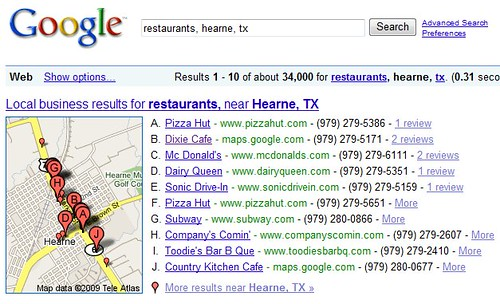 Example of Google 10-Pack of Local Search Results