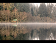 A typical shot... (Chee Seong) Tags: uk longexposure morning house mist lake reflection tree water fog canon scotland boat trossachs hoya stirlingshire nd400 lochard canon2470mm explore14 400d 180secondsexposure