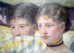 Mary Cassatt, The Loge with detail of faces