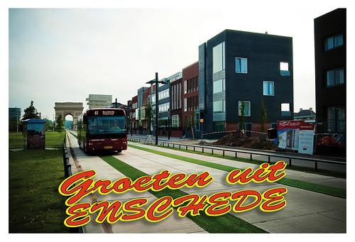 Ansichtkaart Busbaan Roombeek (voorkant)