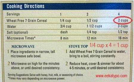 Recipe on box: 1/4 cup x 4 servings = 2 cups