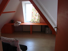 Cheerful (indigo_jones) Tags: orange white colors yellow painting utrecht purple floor top interior nederland before ceiling decorating after guestroom sloped