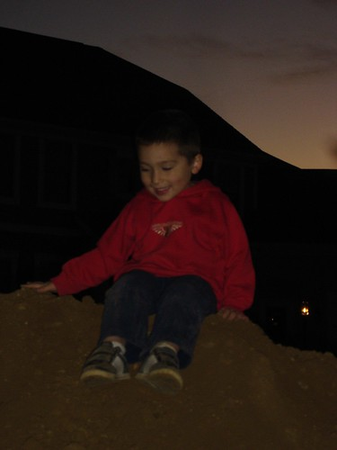 Mason on a dirt mound