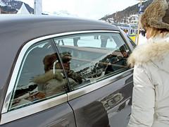 attracted by the INTERIOR! (Polo Scher) Tags: sky people white snow window mirror switzerland rollsroyce furcoat chrome reverse emotions luxury luxus chrom engadin parka horserace stmoritz pelzmantel whiteturf jetset pferderennen shinymetal