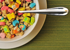 Lucky Charms (DodogoeSLR) Tags: macro green utensils colors breakfast nikon cereal shapes spoon sugar explore placemat chrome crop micro plates vs nikkor stpatricksday luckycharms generalmills 60mmf28 stonerfood explorefrontpage fatfreemilk 2milk macromonday didntdoanalcoholshot