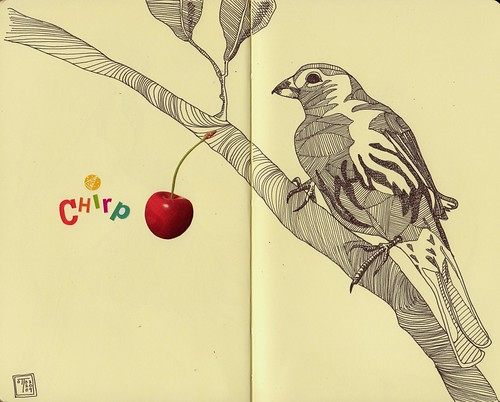 Finch with cherry