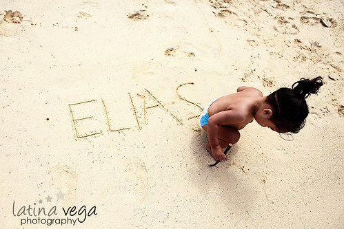 Elias in the sand by you.