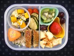 Meatloaf bento (sherimiya ) Tags: school food apple fruit kids turkey lunch salad kid healthy strawberry tomatoes bento zucchini kiwi beet meatloaf kindergartener sherimiya