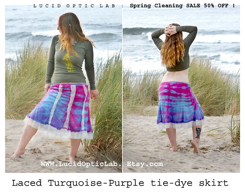 SALE Laced Turquoise-Purple tie-dye skirt