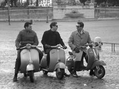 Roma come ieri - Back to the 50's (.: Irene :.) Tags: blackandwhite bw italy rome roma film set movie blackwhite italia vespa nine location bn biancoenero vespas vespe