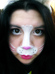 Fugee Face Panda Cottontail! (Lady Pandacat) Tags: pink portrait white reflection self nose shiny colorful bright shimmery makeup vivid whiskers mexican yeartwo hispanic latina browneyes 2009 bunnyears happyeaster catchlight fantabulous catchycolorspink pandacat pandabunny 365daysreject sadbunny fugeeface canong9 pandacatbaby tinaangel itouchyourface pandacottontail ididthisformypandaman yeahiknowimpale ladypandacatvonnopants
