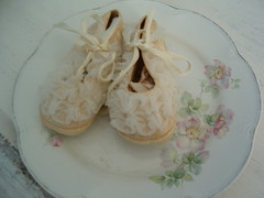 Vintage baby slippers 3 (Adline's Armoire) Tags: baby vintage garments shabby