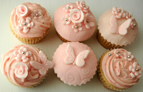 Pink Flower and Butterfly cupcakes