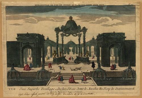 Vue d'un superbe treillage et des jets d'eau dans le jardin du Roy de Dannemarck, 1700s, chez Basset (Paris) (purl.pt.4365)