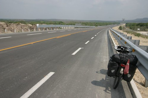 Brilliant asphalt in northeastern Mexico, Hwy 101