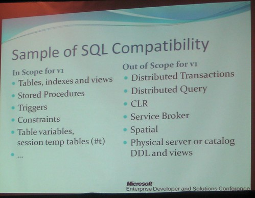 SQL Server Data Services Compatibility