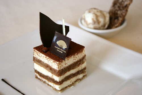 Tiramisu with almond-coffee and tiramisu ice cream