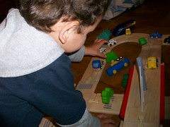 The police officer came to the rescue of the truck crash (Eyes Of 16) Tags: boy fun outdoors small 3yearold