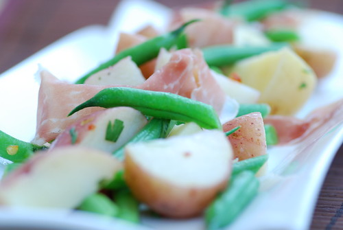 string bean and potato salad with prosciutto