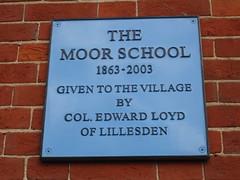 Photo of Moor School blue plaque